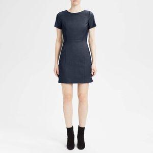 theory  cassii stretch wool short sleeve sheath